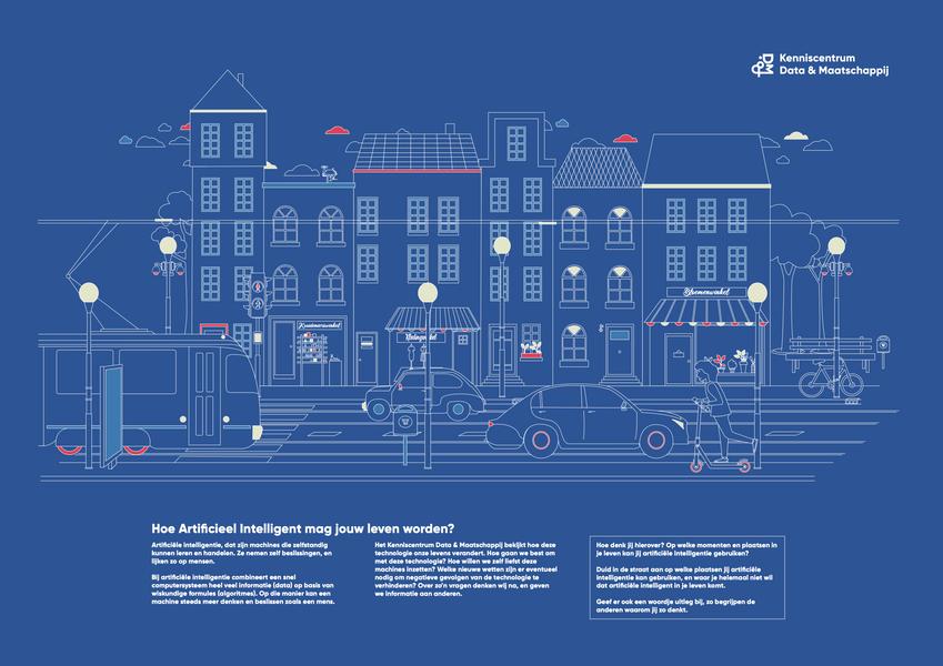 Affiche over artificiële intelligentie op straat